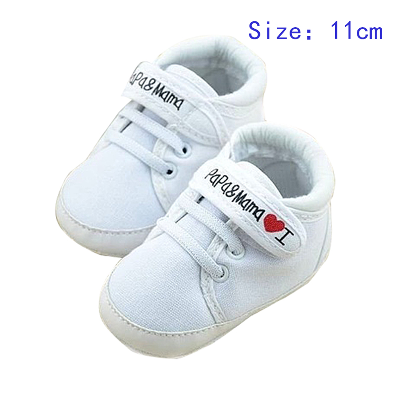 ABWE Newborn Infant Baby I Love Papa Mama Soft Sole Crip Sport Shoes Sneakers Casual 0~6 Months 11cm white