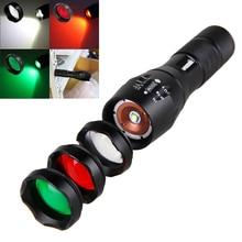Linterna Enfoque Ajustable LED XM L T6, luz blanca, verde, roja, con enfoque con zoom 5000, linterna táctica para caza