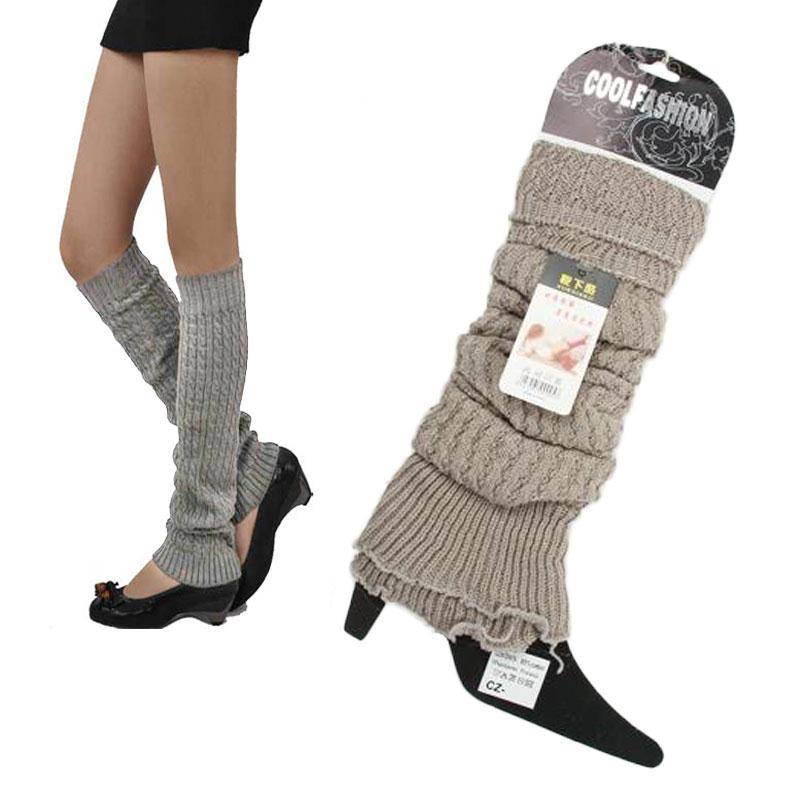 Winter Leg Warmers For Women Spring Autumn New Warm Knitted Girl's Solid Casual Loose Crochet Long Socks Wholesale