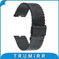 22mm milanese pulseira de aço inoxidável para motorola moto 360 1 1st gen 2014 smart watch band strap pulseira de prata preto