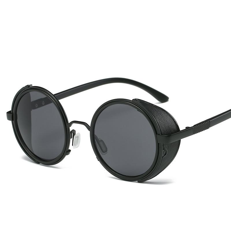 NYWOOH Retro Round Sunglasses Men Gothic Steampunk Sun Glasses Vintage