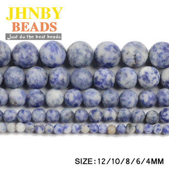 JHNBY Matte Sodalite Bule Spot White Natural Stone Round Loose beads 4/6/8/10/12MM Charm Jewelry bracelet making accessories DIY image
