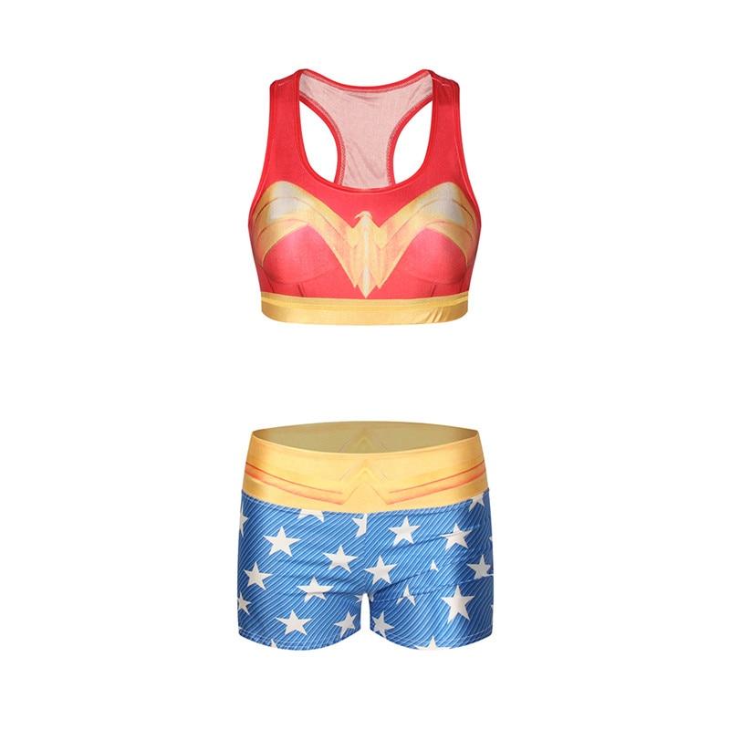 d4486cbc24 Famous Wonder Woman Sports Set Women Yoga Tracksuit Set Sexy Workout AK57