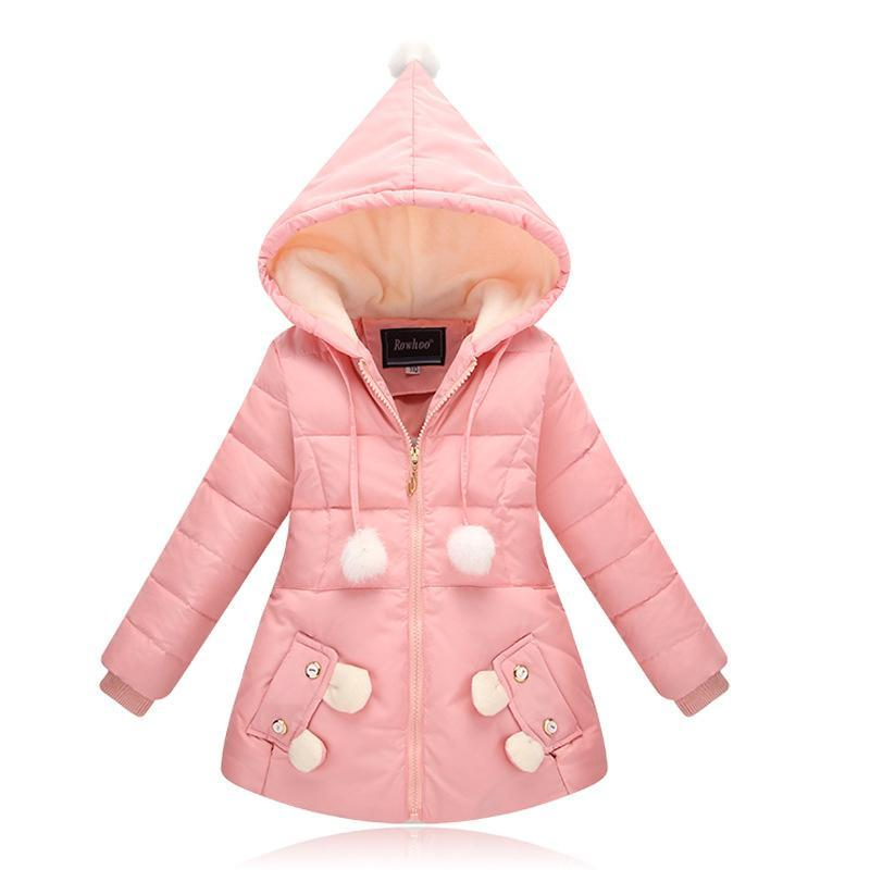 ФОТО Good quality Children Winter Outerwear 2017 Baby Girls Down Coats Jacket Long Style Warm Thickening Kids Outdoor Snow proof Coat
