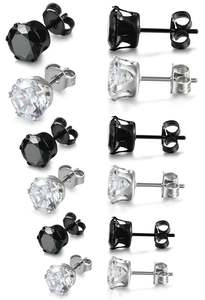 Hazy beauty Mens Stainless Steel Stud Earrings Crystal
