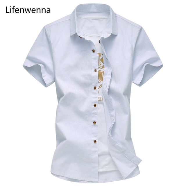 Hot Sale 2017 New Fashion Mens Short Sleeve Shirt High Quality Breathable Mens Solid Shirt Slim Fit Mens Cotton Linen Shirts 6XL