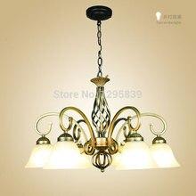Европейский 6HED люстры из кованого железа комплекс классическая Китайский спальня светильники лампы минималистский искусство бронза