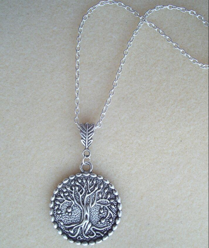 Drop shipping Sacred Tree Pendant 24 Long S/P Chain Necklace - Pagan Celtic Wiccan
