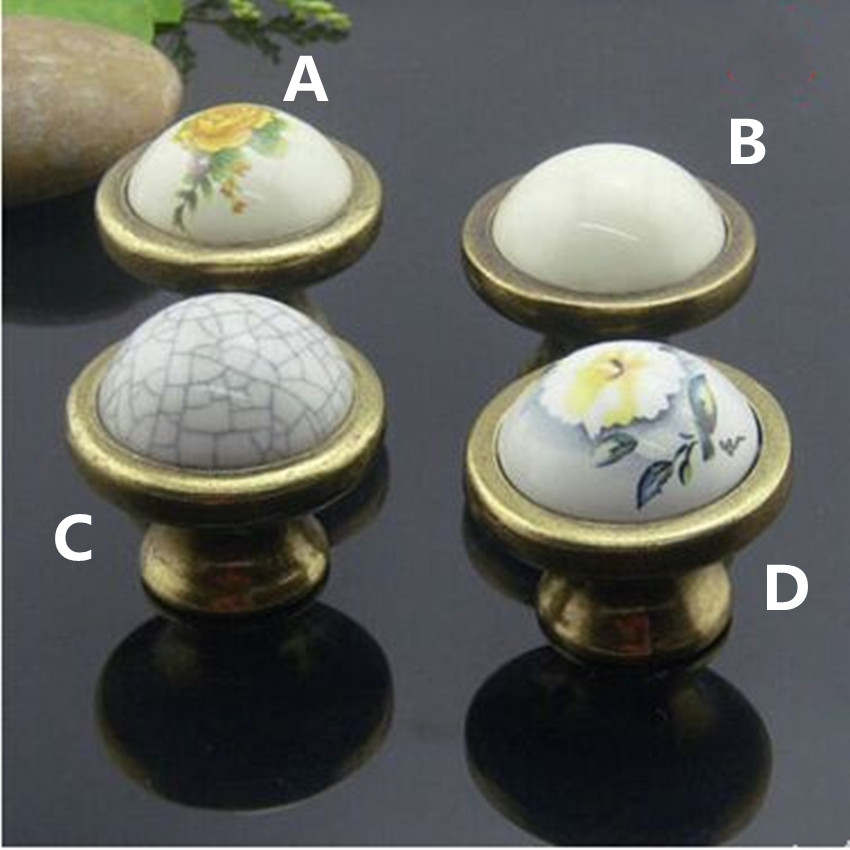 10pcs free shipping Retro rural ceramic furniture knobs bronze drawer cabinet knob pulls white yellow flower