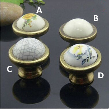10pcs free shipping Retro rural ceramic furniture knobs bronze drawer cabinet knob pulls white yellow flower porcelain handle