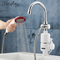 Xueqin Free Shipping 220V Electric Water Heater Faucet Tap Bathroom Kitchen Water Taps Bath Shower Faucet Shower Head Shower Set