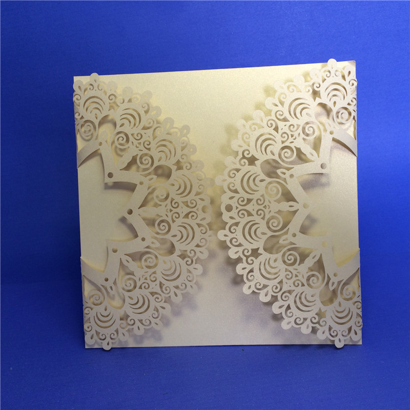 Laser Cut Peacock Tail Lace Wedding Invitations Card 120pcslot