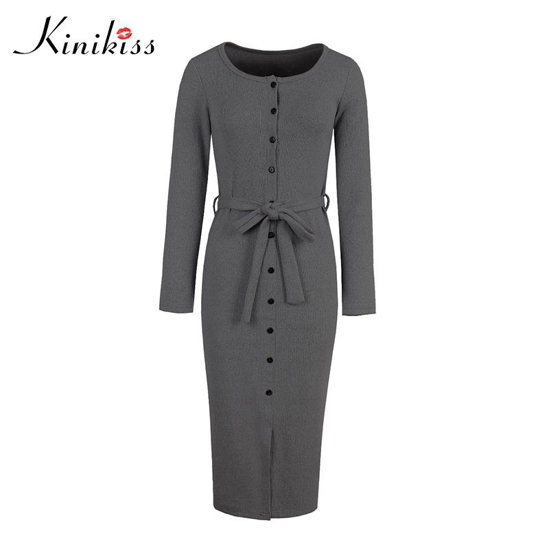 Kinikiss Women 2017 Autumn Sweater Dress Basic Long Sleeve Knitted Button Belt Sheath Dresses Split Slim Tight Office Lady Dress