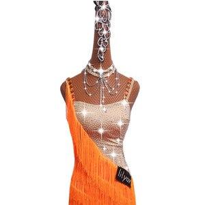 Image 3 - Luxe Latin Dance Jurken Prestaties Kostuums Sexy Sling Diamant Kwastje Jurk Voor Vrouwen Meisjes Stage Competiton Kleding