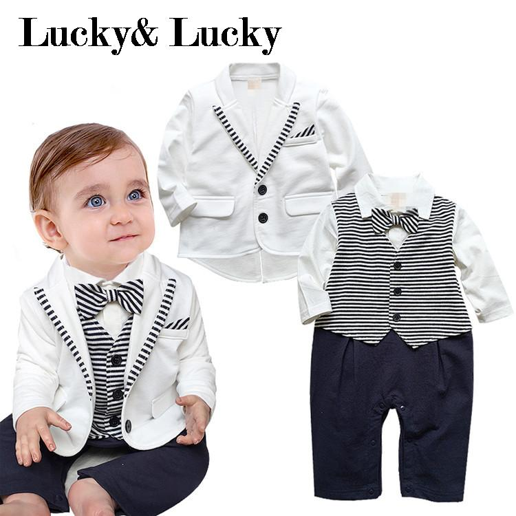 Voguish Boutiqu newborn clothing set bebes baby boy clothes baby rompers+ coat with tie gentleman baby boy clothes black coat striped rompers clothing set button necktie suit newborn wedding suits cl0008