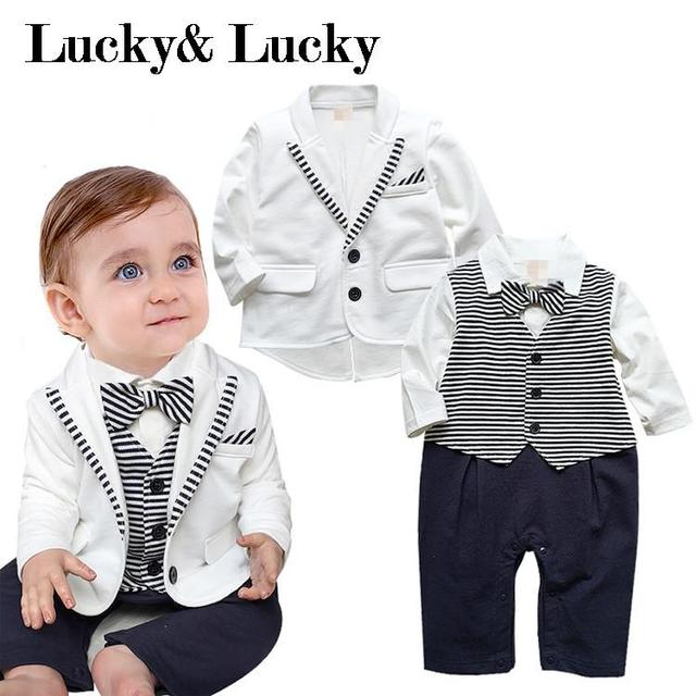 Newborn clothing set (rompers and coat with tie)