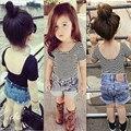 Ins Fashion Models Europe America Children's Clothing Girls Summer Striped Short Sleeved T-shirt Cotton Modern Girls Blouses