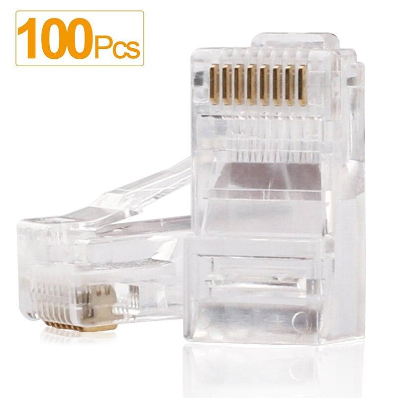 Portefeuille 100 STÜCKE Rj45-stecker RJ45 Crimp Enden 8P8C UTP Netzwerk stecker für CAT5 CAT5E Gestrandet Kabel Festen Kristall Kopf RJ 45