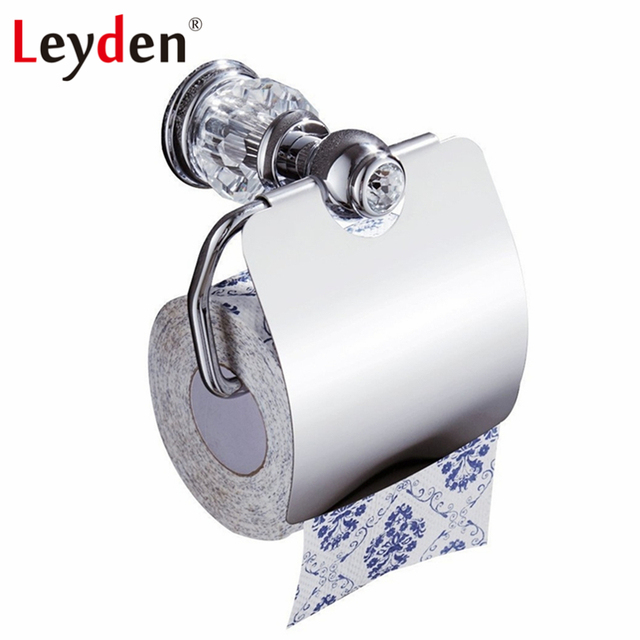 Leyden Luxury Toilet Tissue Holder Wall Mounted Paper Roll Chrome Crystal Bathroom Accessories
