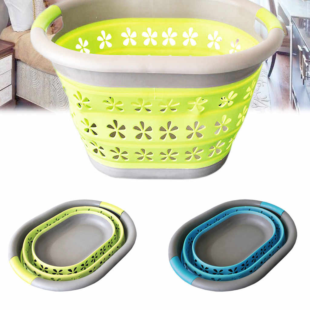 2019 Space Saving Collapsible Laundry Large Folding Basket Cloth Washing Up Big Basket Organizer Bin Handle