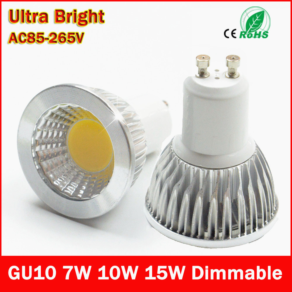 led bulb gu10 cob led spot light 7w 10w 15w gu10 led spotlight bulb lamp light dimmable ac85v. Black Bedroom Furniture Sets. Home Design Ideas