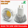 LED Bulb GU10 COB Led Spot Light 7W 10W 15W GU10 led Spotlight Bulb lamp light Dimmable AC85v-265v Super Bright free shipping