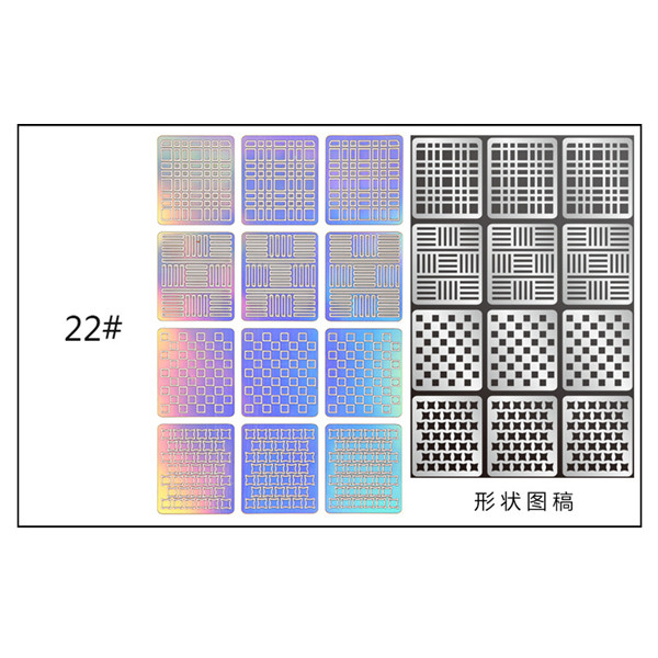 US $1 02 |12 Tips/Sheet Hollow Sticker Fish Scale Nail Vinyls Irregular  Triangle Grid Pattern Easy Use Nail Art Tips Manicure Stencil Nail-in  Stickers