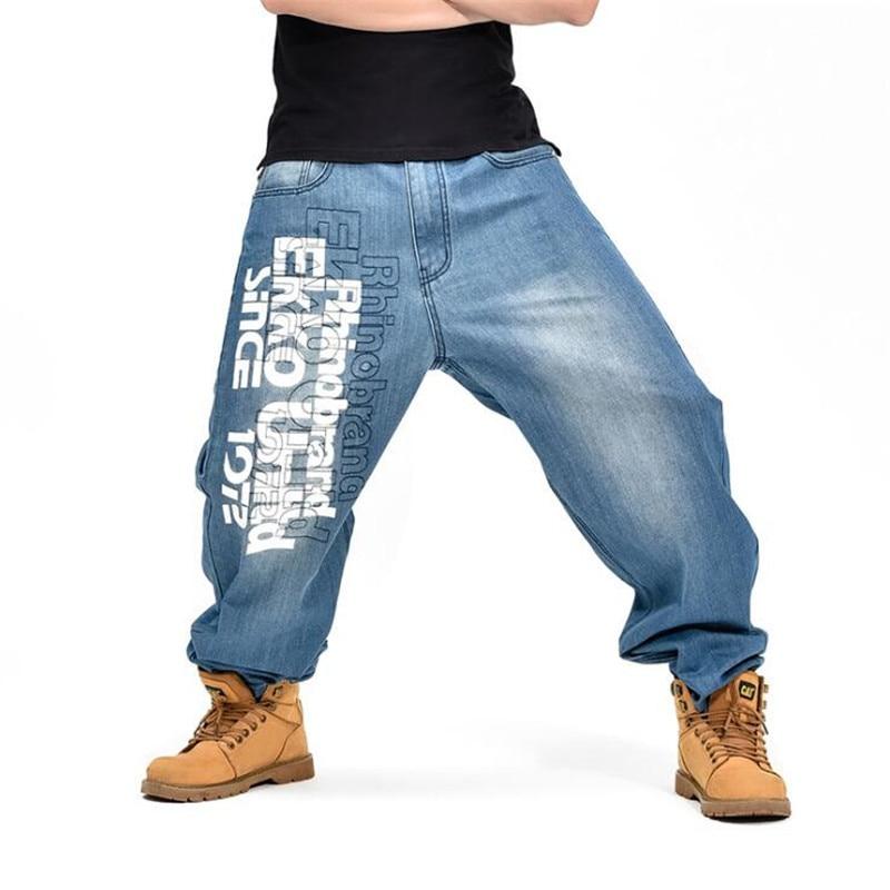 ABOORUN 2016 Hip Hop Mens Letter Printing Jeans Harem Baggy Denim Pants Plus Size P5003