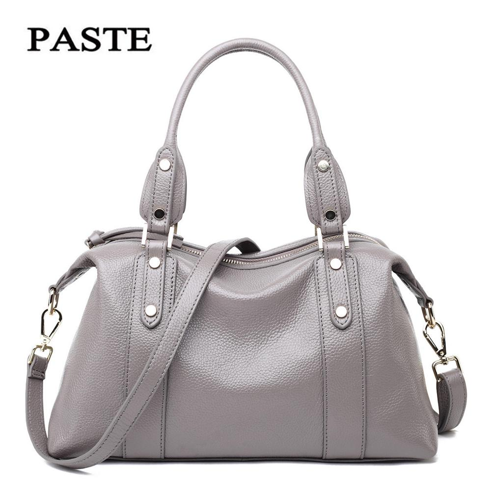Paste 100% Genuine Leather Women Handbags Real Cowhide Shoulder Tote Bags For Ladies Famous Brand Female Messenger Bag PT28 100% genuine leather women bags famous brand women messenger bags first layer cowhide shoulder bags women ladies handbags
