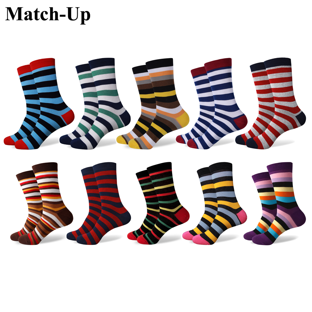 Match Up Fun Dress Socks Colorful Funky Socks for Men Cotton Fashion Patterned Socks Stripe style