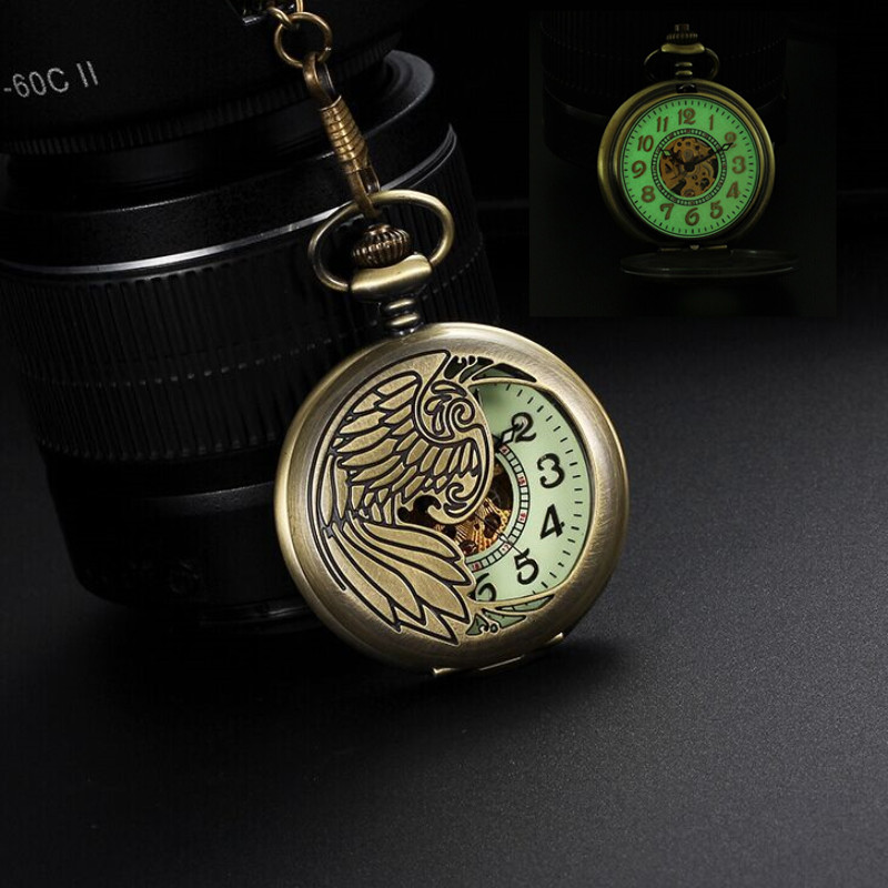Luxury Antique Luminous Phoenix Bird Necklace Hollow Automatic Mechanical Pocket Watch Vintage Bronze Pocket Watch With Chain