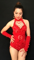 New Red Manual Bar Nightclub DJ Singer Costumes