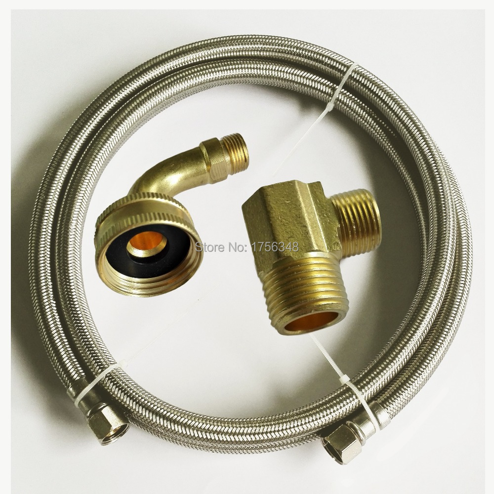 LF15013-60inch 3/8C*3/8C+90degree Elbow+Elbow Flexible SS Diswasher Connector & SS braided connector