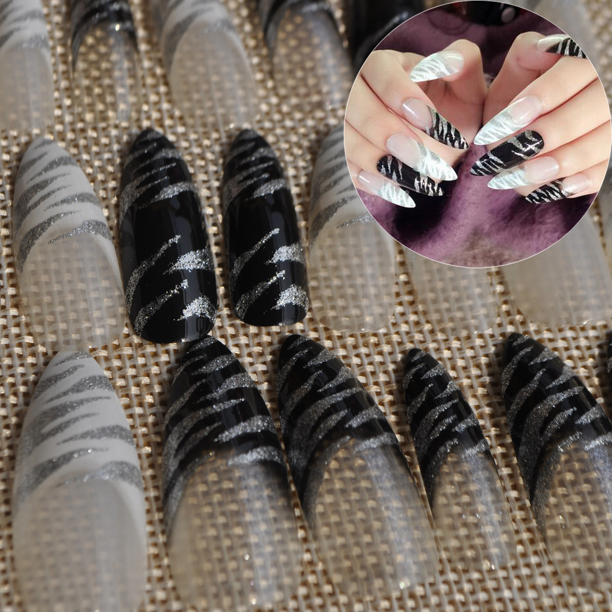 Pointed Acrylic False Nails Black N White Leopard Designed Clear ...