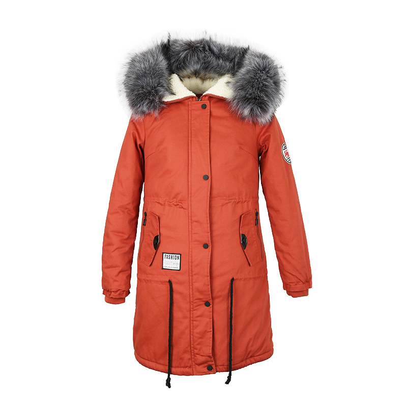 Women Warm Parkas Thick Jacket New Winter Hooded Cotton-padded Coats Woman's Cold-Resistance lambswool Long Outwear Plus Size 2017 new solid winter jacket women hooded coat cotton padded parkas long warm sweat girls cold outwear female down jacket m 3xl