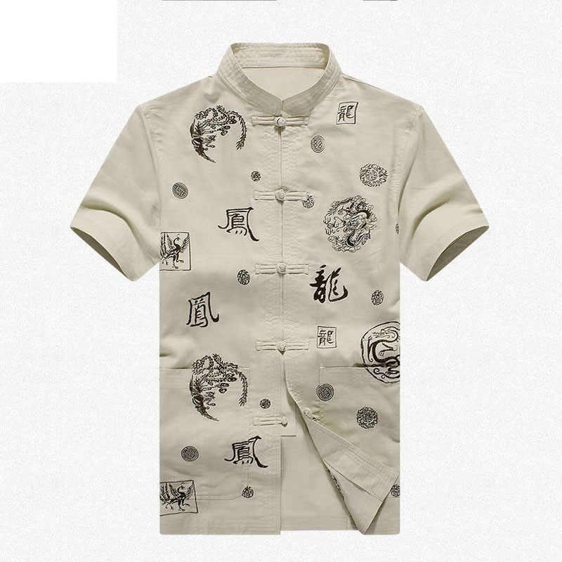 45%綿55%リネンブランド新しい到着中国の伝統的な男性の刺繍ドラゴンカンフーシャツトップスml xl xxl 3xl MS2015010