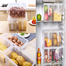 Plastic Storage Containers Square Handle Food Storage Organizer Boxes with Lids for Refrigerator Fridge Cabinet Desk