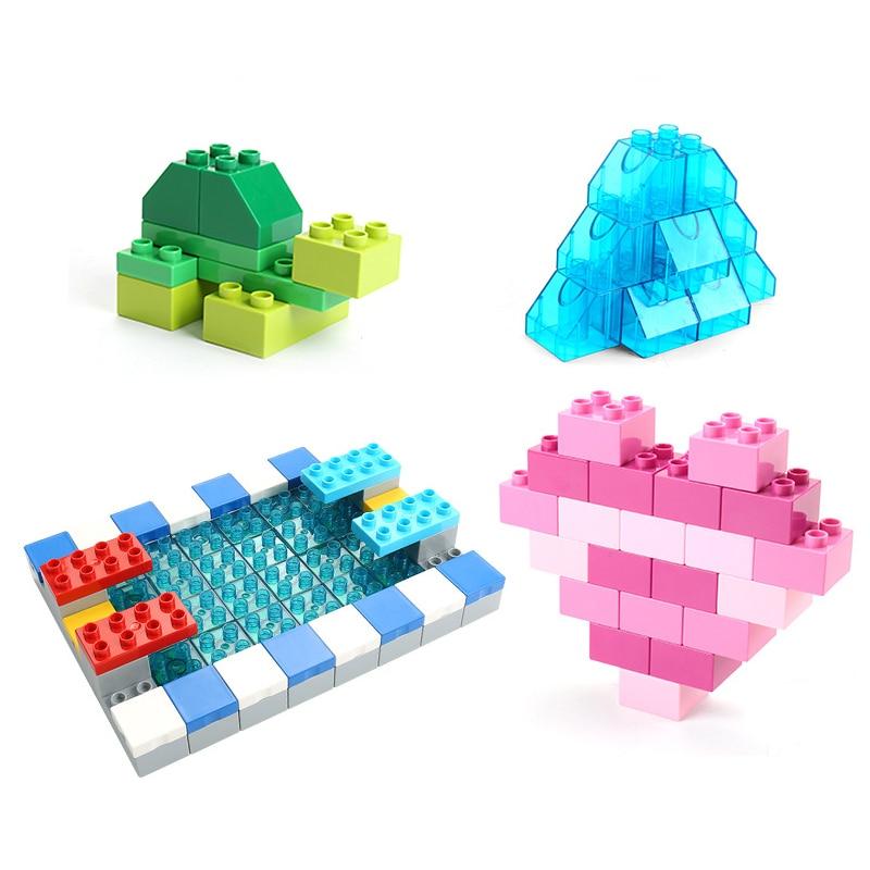 Big Size Duploe Train Building Blocks Bricks Accessory Compatible With Duplos base plate Transparent Square Toys for Children (8)