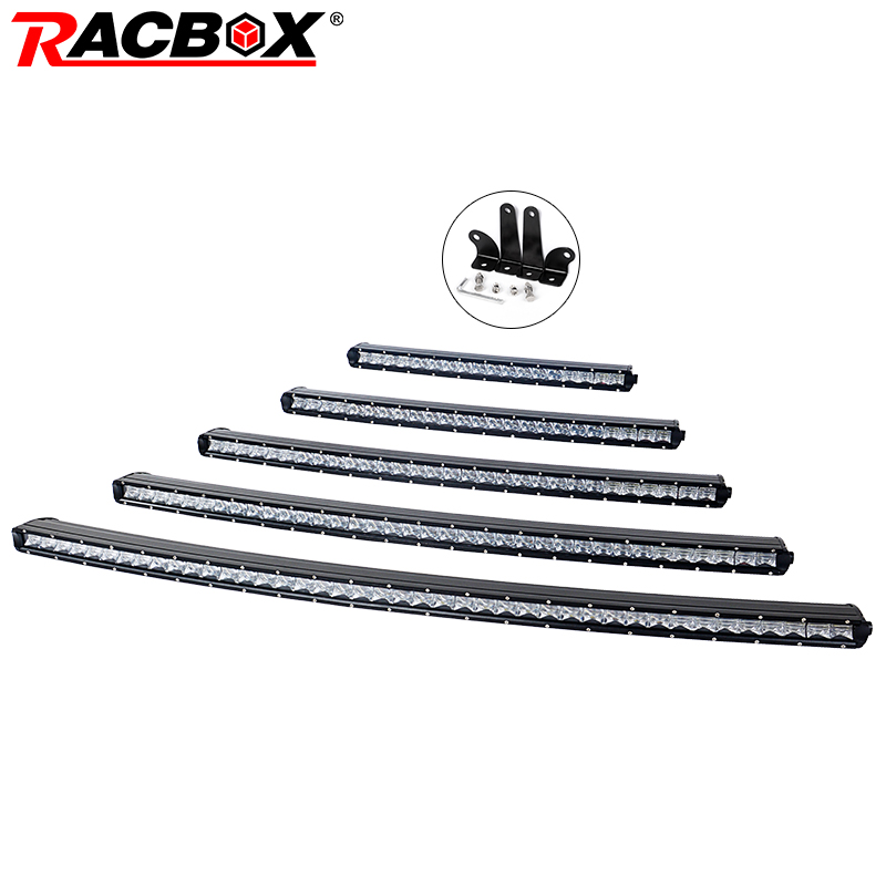 RACBOX 5D изогнутый тонкий светодио дный бар однорядные 20 26 33 38 44 90 вт 120 Вт 150 Вт 180 Вт для внедорожник 4X4 ATV Off Road светодио дный свет работы