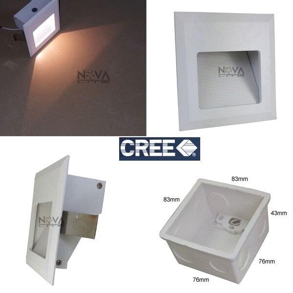 4pcs Ac100 To Ac240v Pvc Wall Box Concrete Recessed Lighting White Square Led Foot Lamp