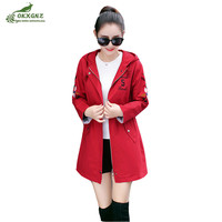 Spring Autumn new women windbreaker jacket fashion temperament Slim embroidered coat female medium long wild was thin coat tide