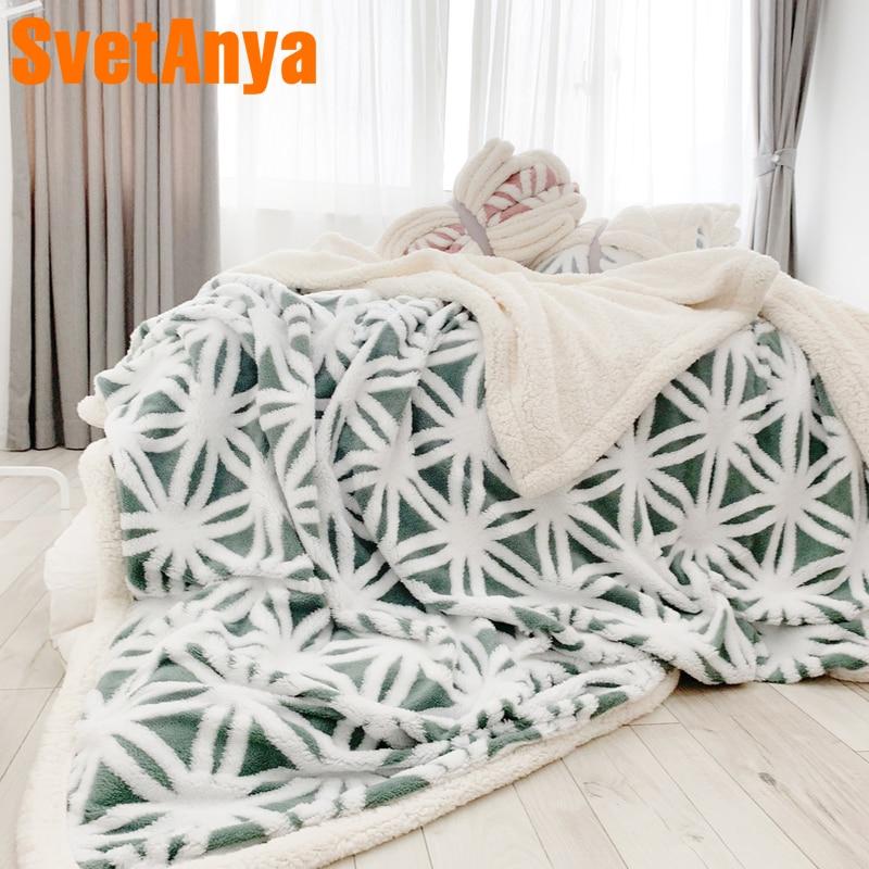 Svetanya thick Throws Blanket jacquard Sherpa Plaids nap sofa Blankets S M L size Solid Color