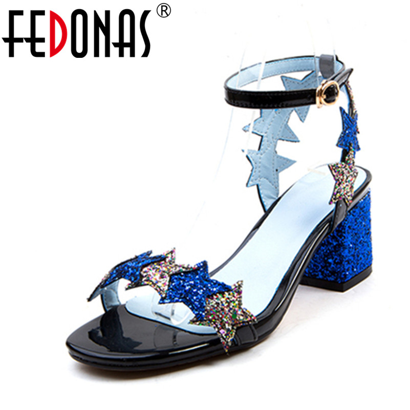 FEDONAS Summer Women Sandals Square Heel Peep Toe High Heels Bling Bling Shoes Woman Buckle Strap Ankle Female Pumps xiaying smile summer woman sandals square cover heel woman pumps buckle strap fashion casual flower flock student women shoes