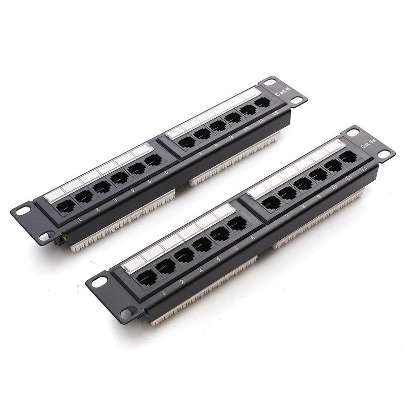 12 Порты и разъёмы RJ45 патч Панель utp cat6/Cat5e Ethernet LAN сетевой адаптер стойки кабель настенный кронштейн разъем стойку инструмент