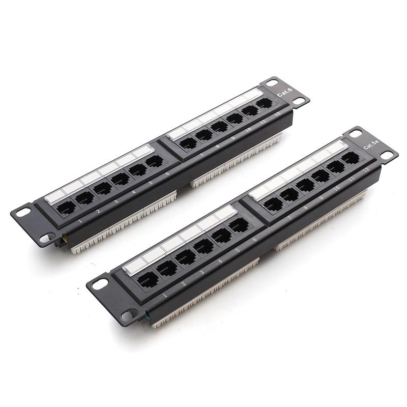 12 יציאת RJ45 לוח תיקון UTP Cat6/Cat5e Ethernet LAN מחבר Rack קיר רכוב סוגר מדף כבל מתאם רשת כלי