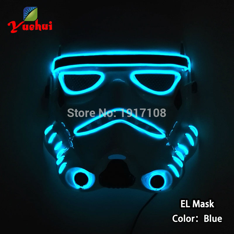 New 2017 EL wire Flashing fashion Party mask with 10 Color DC-3V EL wire Mask LED mask as gift for Halloween mask and costumes
