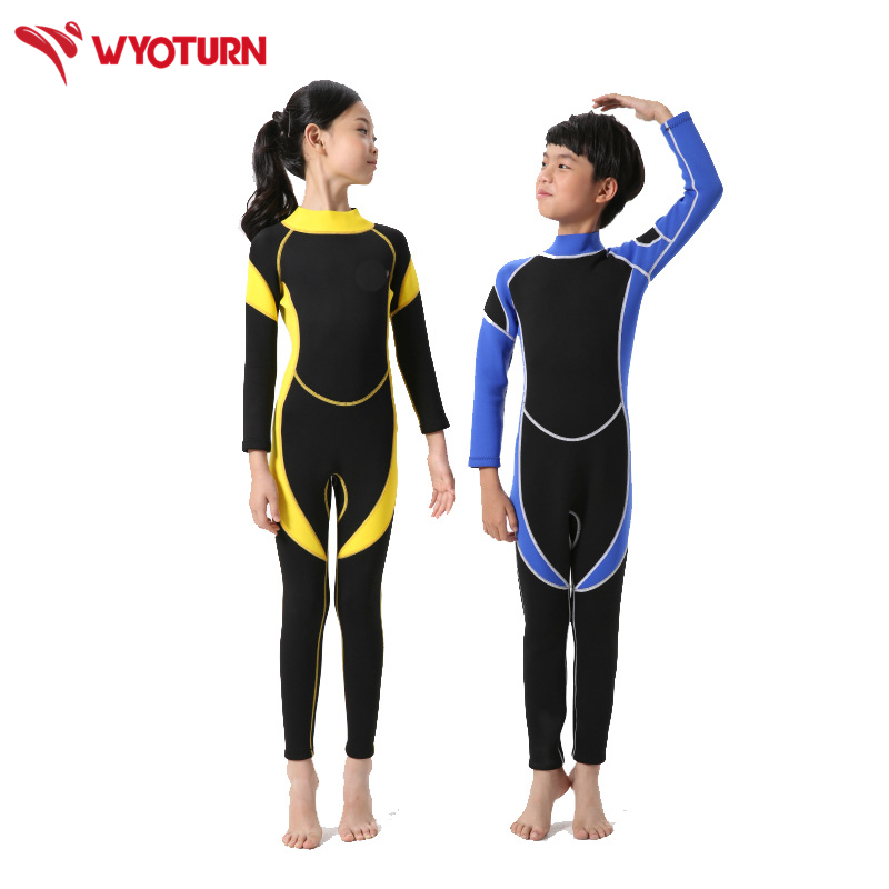 a34a7d2298 Neoprene Long Sleeves Kids Wetsuits Diving Suits for Boys Girls Children  Rash Guards One Pieces