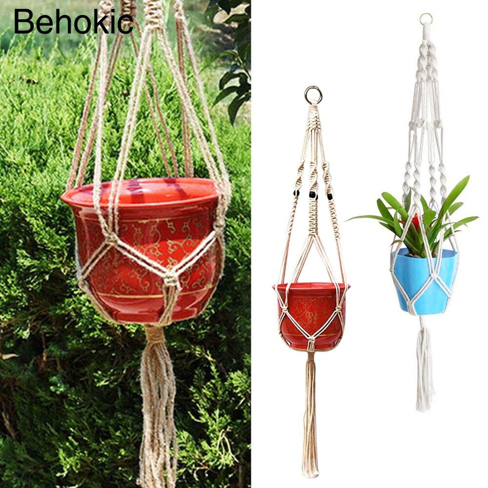 behokic pulgadas hecha a mano cuerda cuerda de algodn trenzado de macram cesta sostenedor de la suspensin de la planta de