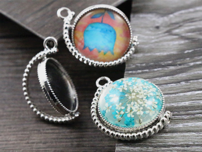 5pcs 20mm Inner Size Rotation Double Side Rhodium Color Cameo Cabochon Base Setting Charms New Fashion Pendant (D3-19)