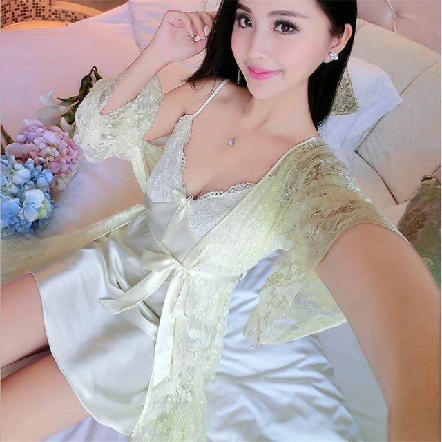 ddd561eca31 Spring summer women Silk pajamas Silk long sleeves Nightgown within  Temptation Lace side V-neck
